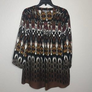 NY Collection Long Sleeve Blouse Top V-Neck Multi
